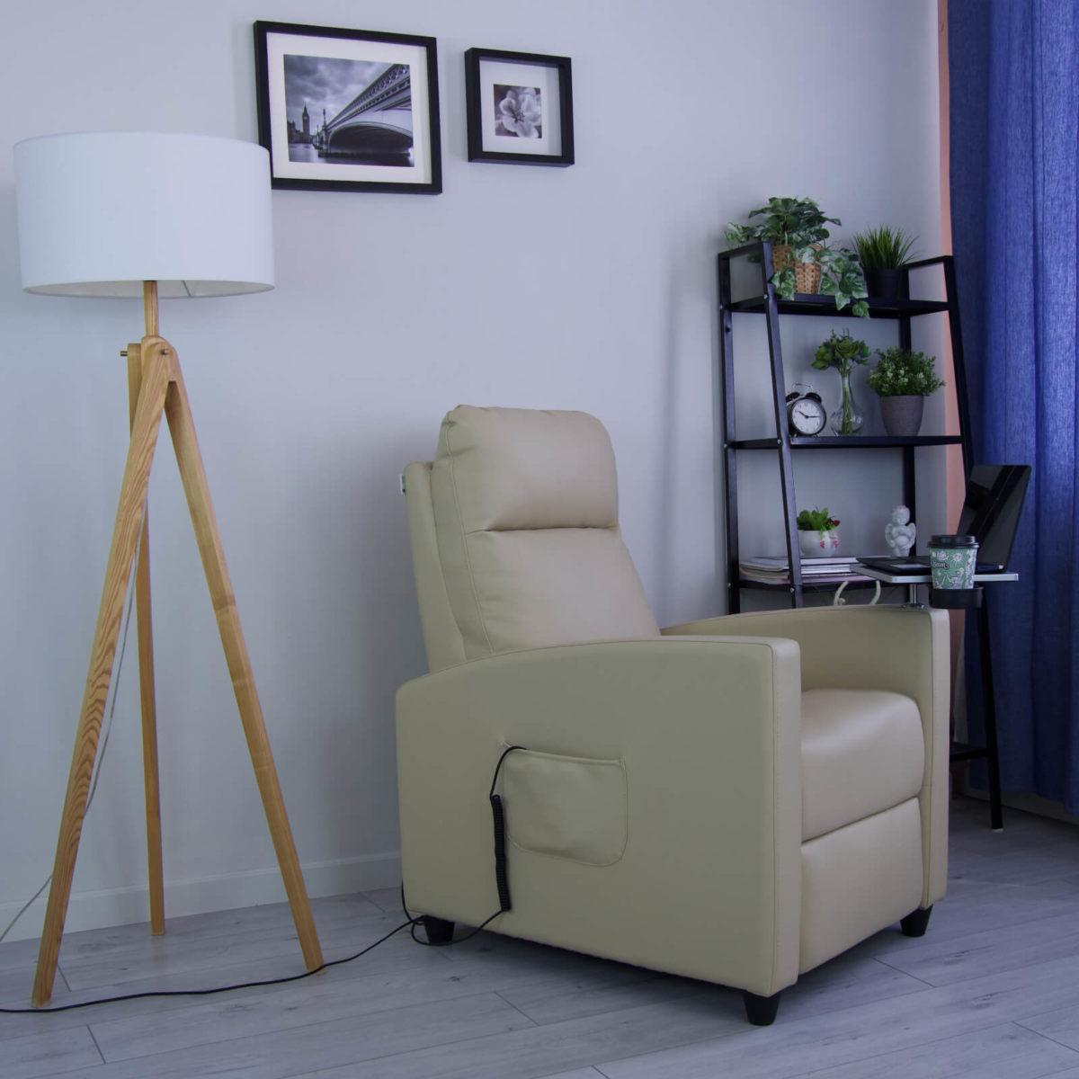 Кресло-реклайнер Эми Электро (эко-кожа), со съёмным столиком